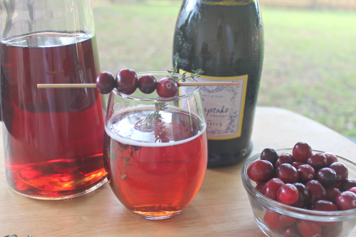 cranberry and prosecco mimosas